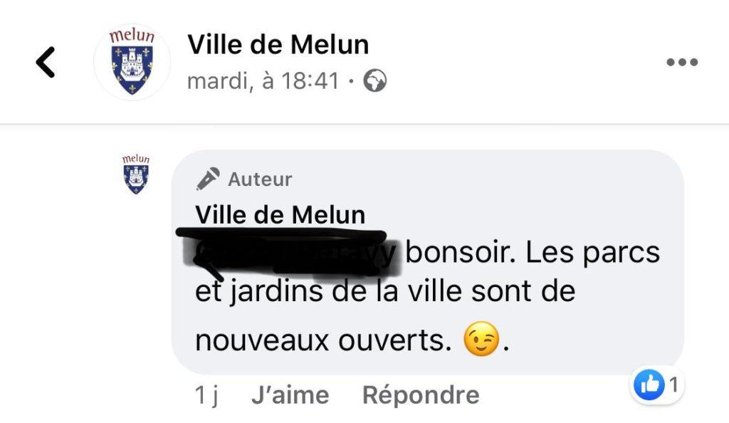 les parcs sont de nouveaux ouverts selon la page facebook de la ville de Melun